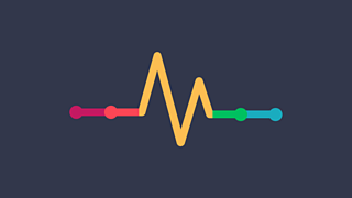 A multi-coloured line that implies an electrocardiogram heartbeat.