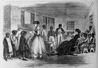 African American students in a Freedman's Bureau school in Richmond, Virginia.