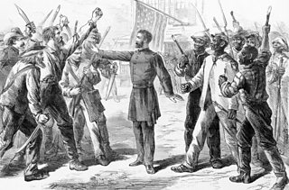 An 1868 engraving from Harper's Bazaar showing a Bureau officer holding back a group of angry whites