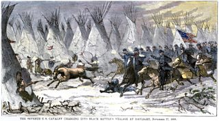 A hand-coloured woodcut showing Colonel John Chivington leading US Cavalry massacre of Chief Black Kettle and a village of friendly Indians at Sand Creek 1864.