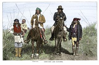 A hand-colored woodcut from a photograph showing Native Americans Geronimo and Natchez on horseback during the Apache Wars 1886.