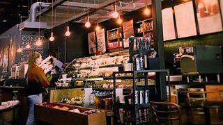 A coffee shop counter