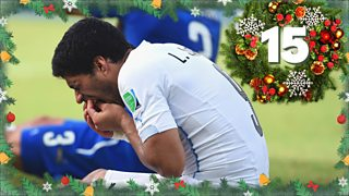 BBC Sport advent calendar: Luis Suarez bites Giorgio Chiellini at 2014 World Cup thumbnail