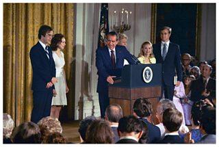 President Richard Nixon announces his resignation as President of the USA, 1974