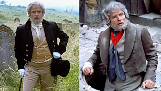 Jean Valjean, from Les Miserables, stands on the left in a field wearing a pristine suit and sits on the right in an open manhole cover with his suit, hair and make-up dirty and worn.