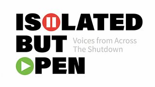 Isolated but Open logo, subtitle is 'voices from across the shutdown'