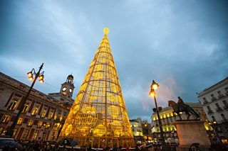 Puerta del Sol in Madrid at Christmas
