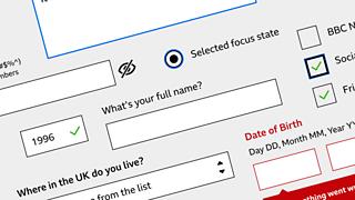 Sticker sheet of input types