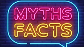 """A neon sign which reads """"myths facts""""."""