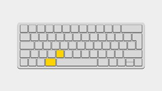 An illustration of a keyboard, with the Keyboard shortcut command + C keys pressed