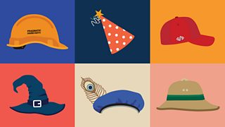 An illustrated assortment of six hats