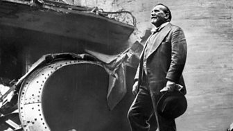 Sir Henry Wood surveys the bomb damage to Queen's Hall