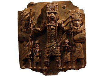 A plaque showing an Oba of Benin and attendants