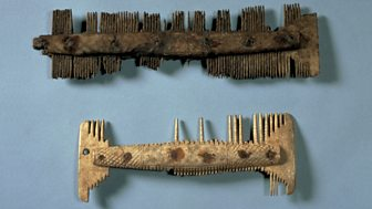 Two Anglo-Saxon combs made from bone.