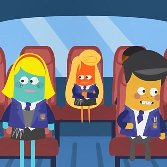 Animated image of school children sat on a bus