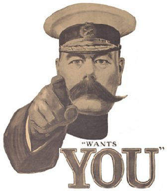 Original recruitment poster of Lord Kitchener pointing at the viewer