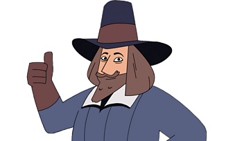 Guy Fawkes with his thumbs up
