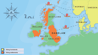 A map showing the places that the Vikings settled in Britain.