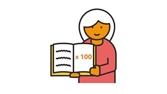 Teacher holding a book reading x 100