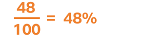 48 percent expressed as a fraction and percentage
