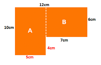Rectilinear shape showing internal rectangles A and B