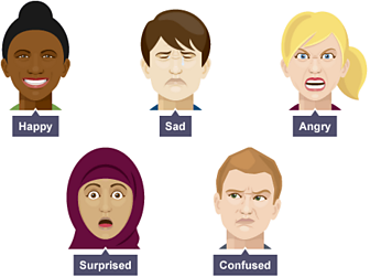 Five different facial expressions - happy, sad, angry, surprised and confused.