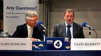 Programme image from Any Questions?: Alan Duncan, David Blunkett, Elfyn Llwyd, Revel Guest
