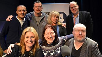 Programme image from Front Row: Adil Ray, Helen Lederer, Jackie Clune and Mark Billingham compete in the Front Row Quiz