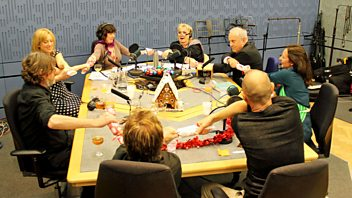 Programme image from Woman's Hour: Nigel Slater; Evan Davis; Puppini Sisters