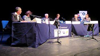 Programme image from Any Questions?: Dr Carol Bell, Carwyn Jones AM, Rhun Ap Iorwerth AM, Bernard Jenkin MP