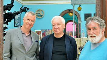 Programme image from Front Row: Michael Craig-Martin's RA Summer Exhibition, Roger Waters and Nick Mason on Pink Floyd's Heritage Plaque