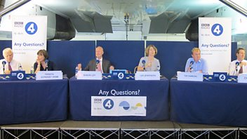 Programme image from Any Questions?: Tim Farron MP, Lord Lamont, Chris Leslie MP, Merryn Somerset Webb