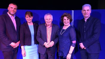 Programme image from Any Questions?: Edwina Currie, John Hilary, Tim Montgomerie, Leanne Wood