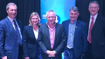 Programme image from Any Questions?: Hilary Benn MP, Mick Cash, Nigel Farage MEP, Justine Greening MP