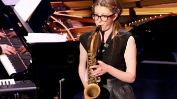 Programme image from Woman's Hour: Weekend Woman's Hour: Jess Gillam - saxophonist and BBC Young Musician finalist, 70th birthday highlights.