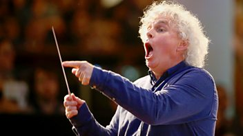 Programme image from Front Row: Conductor Simon Rattle, artist Lubaina Himid and playwright Roland Schimmelpfennig
