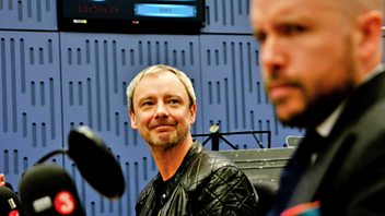 Programme image from Loose Ends: Sean Hayes, John Simm, Jessica Swale, Bridget Christie, Ezra Furman and The Visions, Geowulf, Tom Allen, Clive Anderson