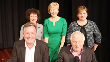 Programme image from Any Questions?: Andrea Leadsom MP, Piers Morgan, Emily Thornberry MP, Jeanette Winterson