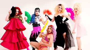 Programme image from Front Row: Live from Edinburgh with drag act Denim, Maggie O'Farrell, Penelope Skinner and Terry O'Donovan