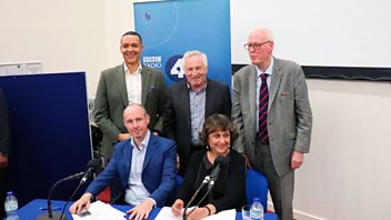 Programme image from Any Questions?: Yasmin Alibhai-Brown, Dan Hannan MEP, Lord Hennessy, Clive Lewis MP