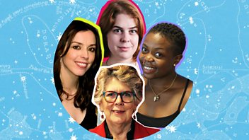 Programme image from Woman's Hour: Christmas Day with Prue Leith, Kelechi Okafor, Helen Lewis and Bridget Christie