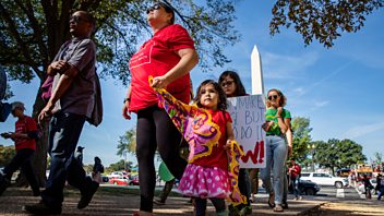 Programme image from Woman's Hour: Taking babies to protests, Abortion laws in Alabama US, Cassiopeia Berkeley-Agyepong and Simone Ibbett-Brown