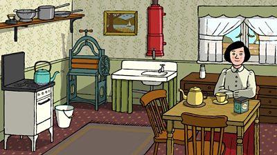 Illustration of a WW1 kitchen.