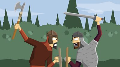 An Anglo-Saxon warrior fights a Viking warrior in armed combat.