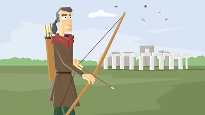 The Amesbury Archer standing near Stonehenge with his arrow and bow drawn ready to use