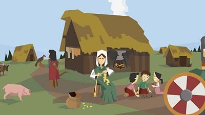An Anglo-Saxon village scene