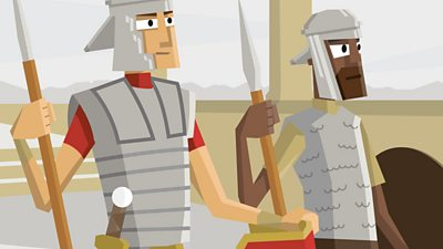 A Roman Legionary and a Roman Auxiliary soldier stand next to each other