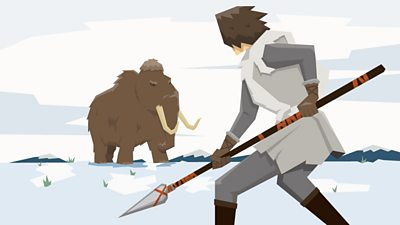 An Ice Age Briton, with a spear, confronts a hairy mammoth during a hunt