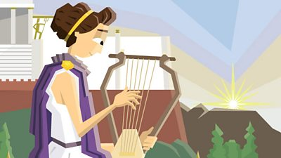An ancient Greek woman playin the lyre.