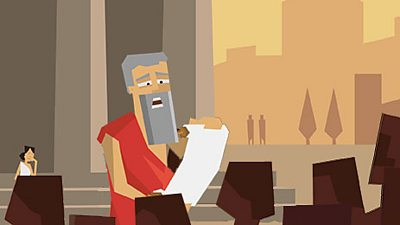 An ancient greek man reads from a scroll.